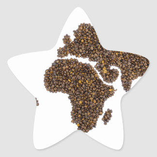 World map filled with coffee beans star sticker