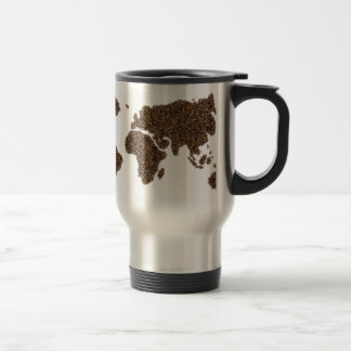 World map filled with coffee beans travel mug