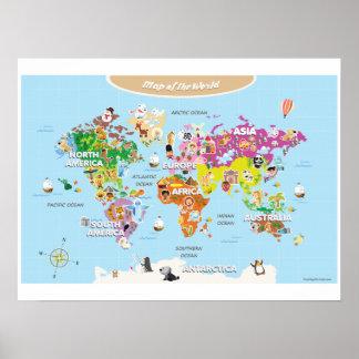 Kids World Map Posters Zazzlecomau - Kids world map poster