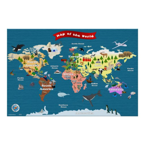 World Map For Kids - Let's Explore Posters