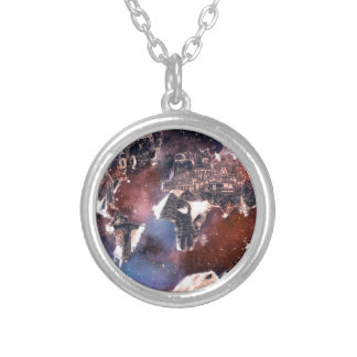 world map galaxy 4 silver plated necklace
