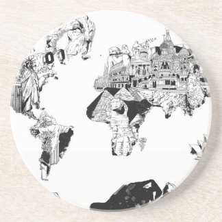 world map galaxy black and white 3 beverage coasters