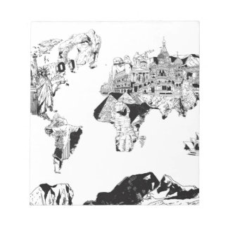 world map galaxy black and white 3 notepad