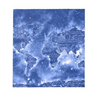 world map galaxy blue 1 notepad