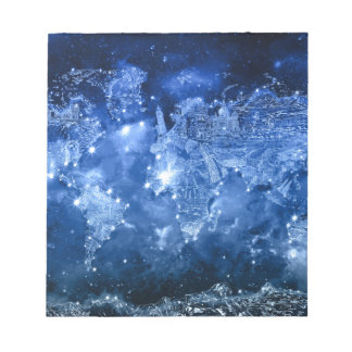 world map galaxy blue 2 notepad