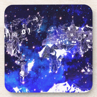 world map galaxy blue beverage coaster
