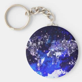 world map galaxy blue key ring