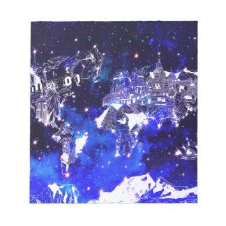 world map galaxy blue notepad