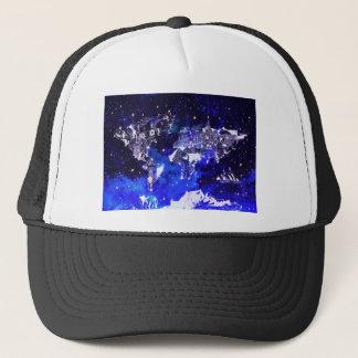 world map galaxy blue trucker hat