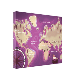 World Map Gallery Wrapped Canvas