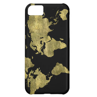 world map gold color iPhone 5C case