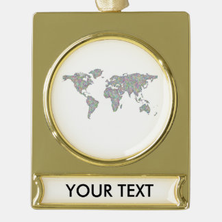 World map gold plated banner ornament