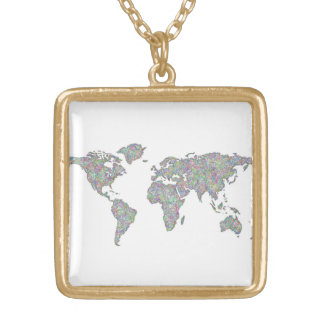 World map gold plated necklace