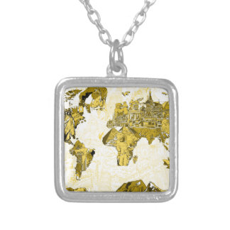 world map gold silver plated necklace