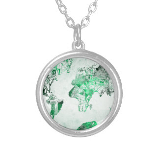 world map green silver plated necklace