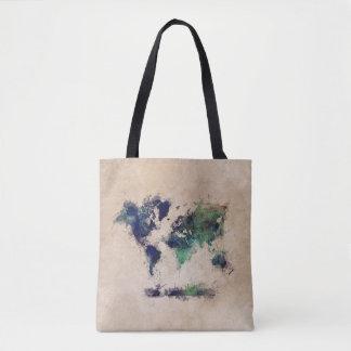 world map green splash bag