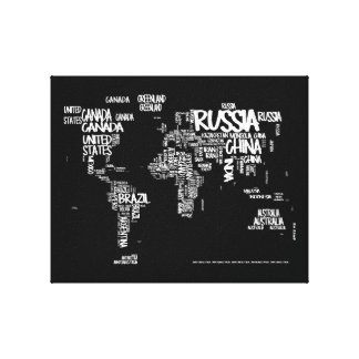 World Map Handwritten Typography, Black and White Stretched Canvas Print