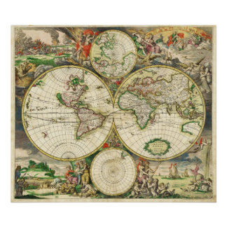 World Map in 1689 by Gerard van Schagen Poster