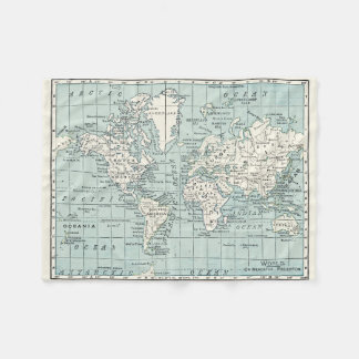 World Map in blue and Cream Blanket