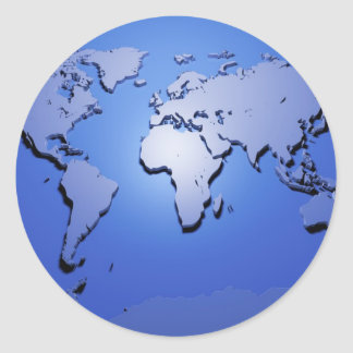 World Map in Blue Classic Round Sticker