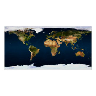 World map in full natural colors by healing love poster