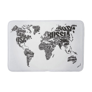 World Map in Typography Bath Mats
