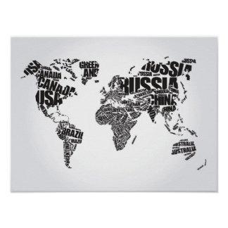 World Map in Typography Poster