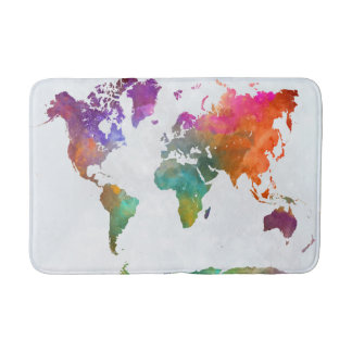 World Map In Watercolor Bath Mats