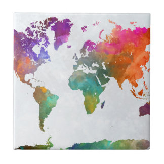 World Map In Watercolor Ceramic Tile