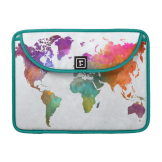 World Map In Watercolor Sleeve For MacBook Pro
