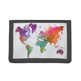 World Map In Watercolor Trifold Wallet