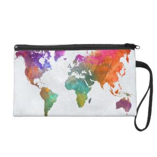 World Map In Watercolor Wristlet