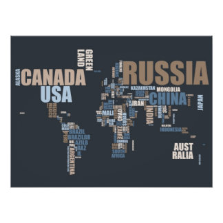 World Map in Words Poster