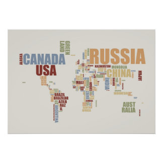 World Map in words Posters