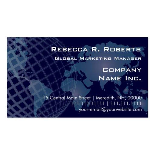 World Map International Telecommunications Blue Business Card Template