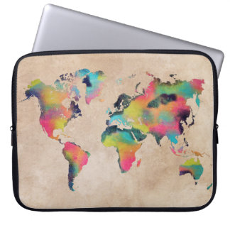 world map Neoprene Laptop Sleeve 15""