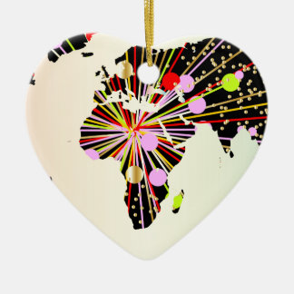 World Map New Year Ceramic Ornament