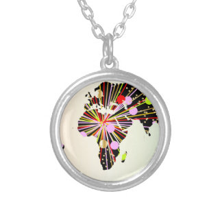 World Map New Year Silver Plated Necklace