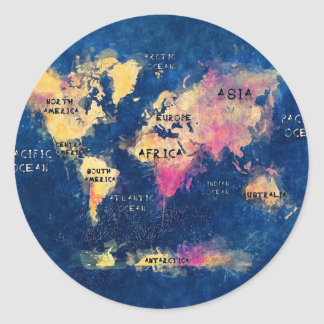 world map OCEANS and continents Classic Round Sticker