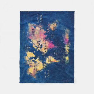 world map OCEANS and continents Fleece Blanket