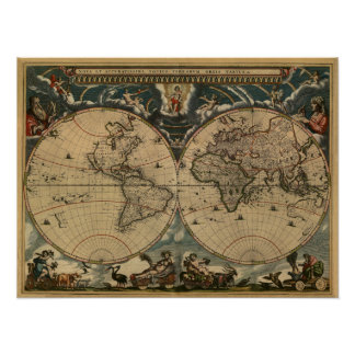 World Map of 1664 Poster