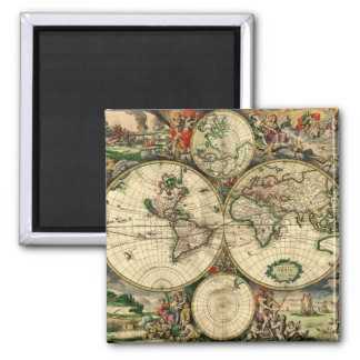 World Map of 1689 Gifts Square Magnet