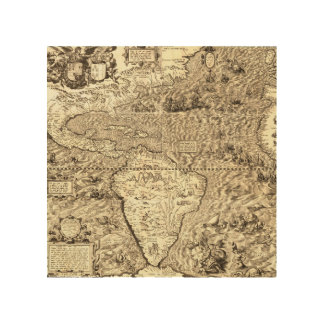 World Map of America by Diego Gutiérrez Wood Print