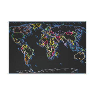 World Map of Countries Political Borders Canvas Prints