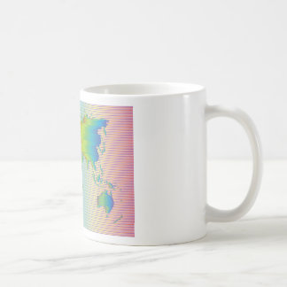World map of rainbow bands coffee mug