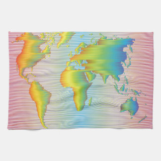 World map of rainbow bands hand towel