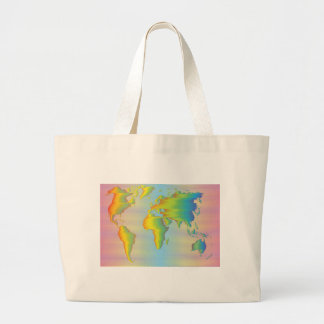 World map of rainbow bands large tote bag