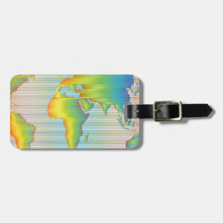 World map of rainbow bands luggage tag