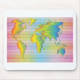 World map of rainbow bands mouse pad