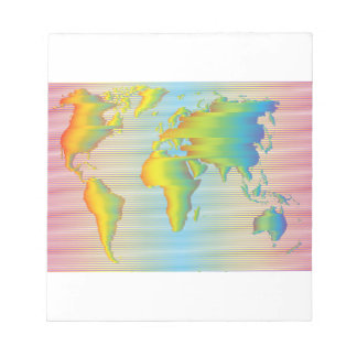 World map of rainbow bands notepad